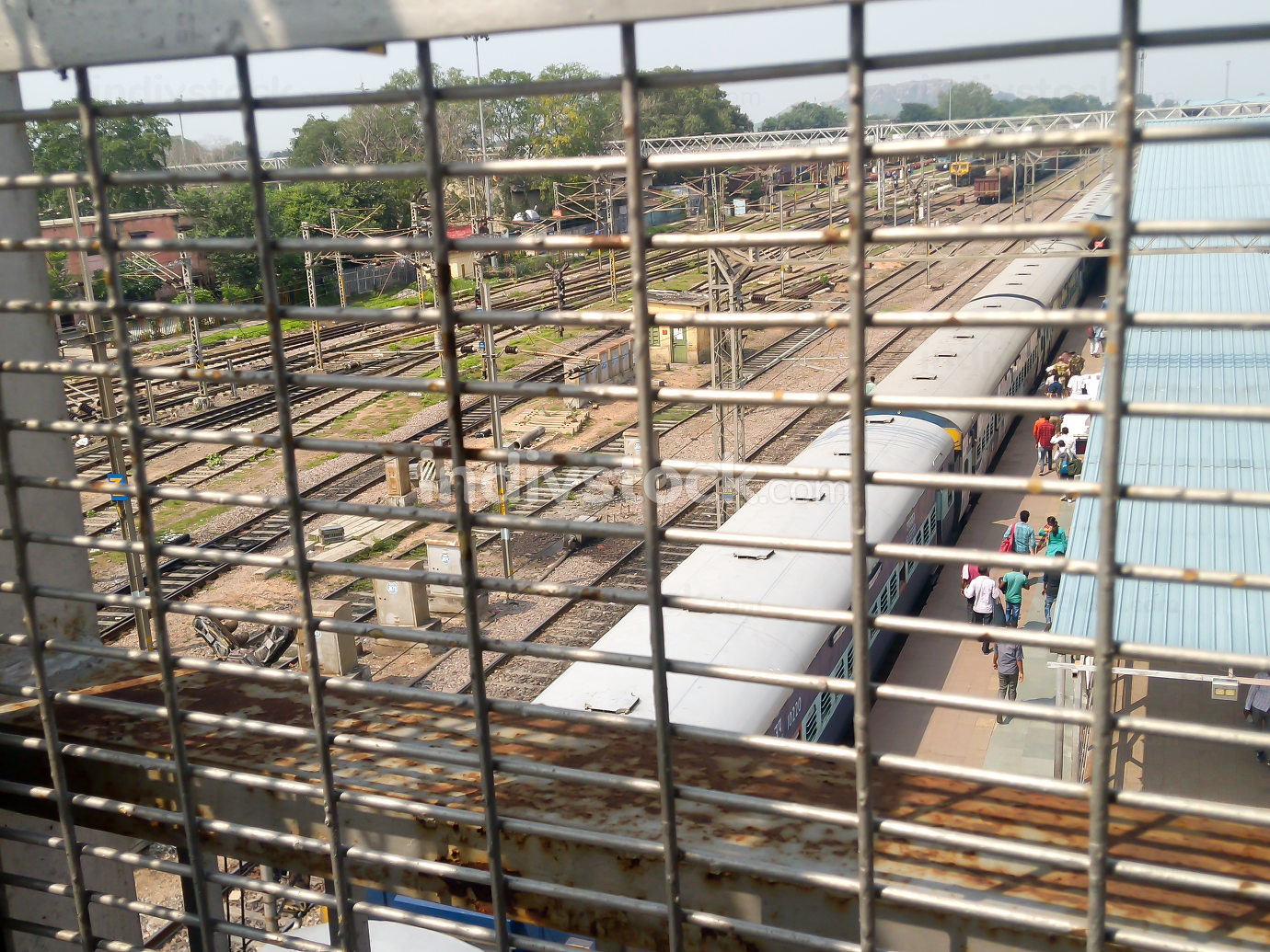 Cantonment railway station India South Asia 2019 Railway station view through Metal Frame Structure
