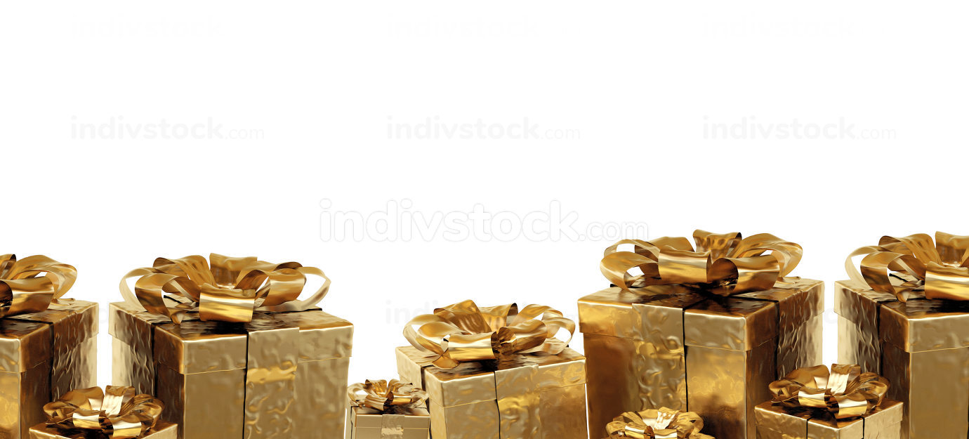 christmas presents. golden christmas gifts 3d illustration