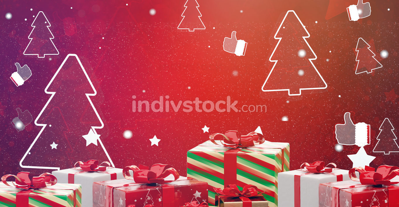 christmas presents with snowflakes festive design 3d-illustration