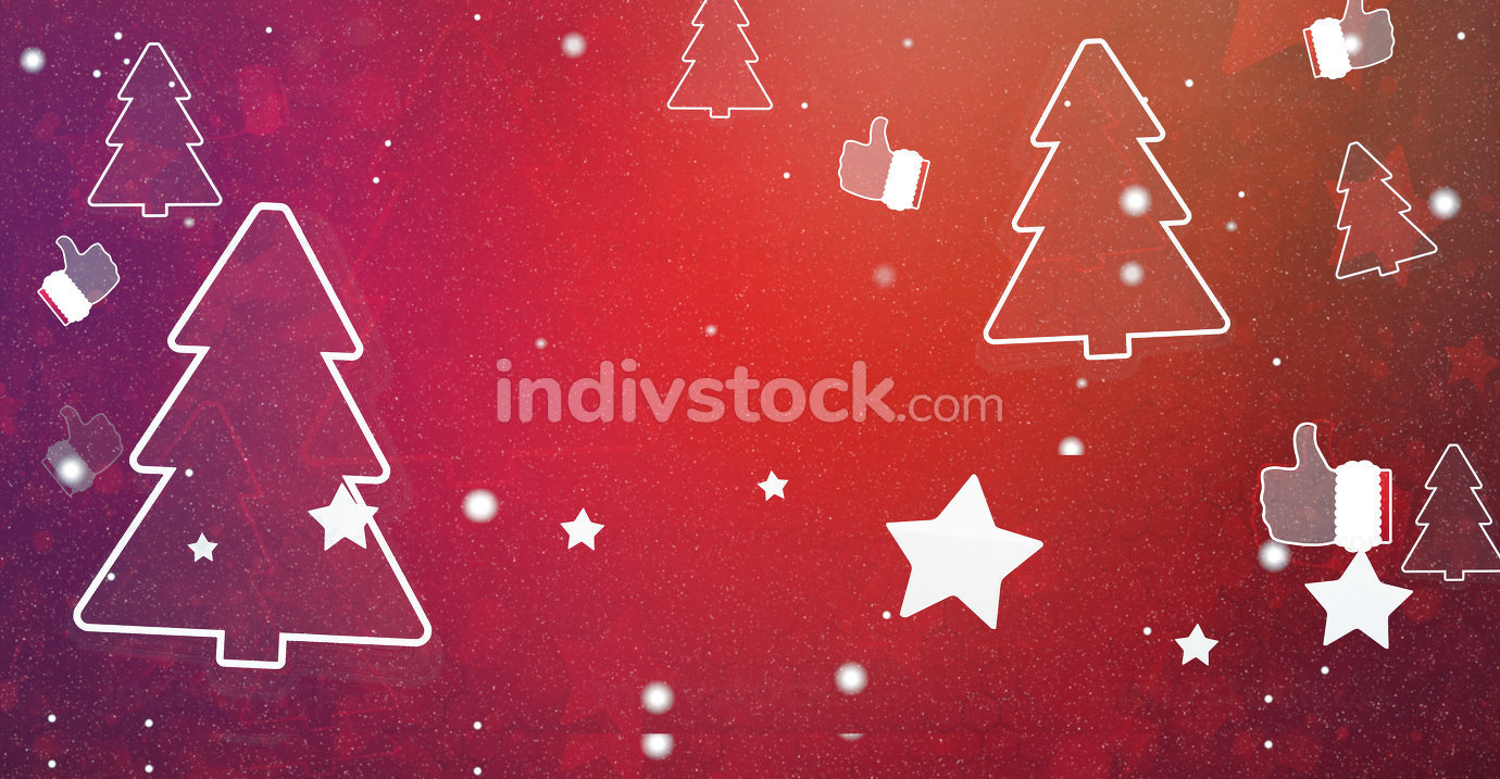 christmas thumbs up, fir and stars with snowflakes festive design 3d-illustration