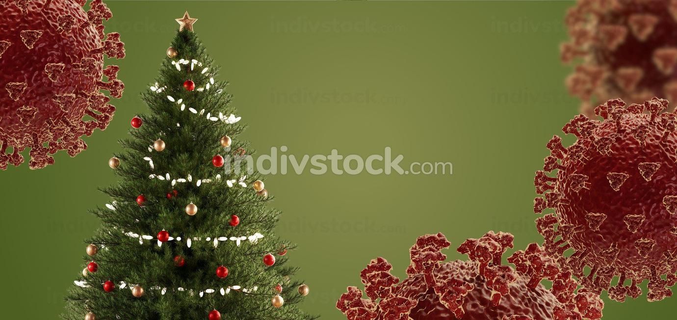 christmas tree and coronavirus 3d-illustration