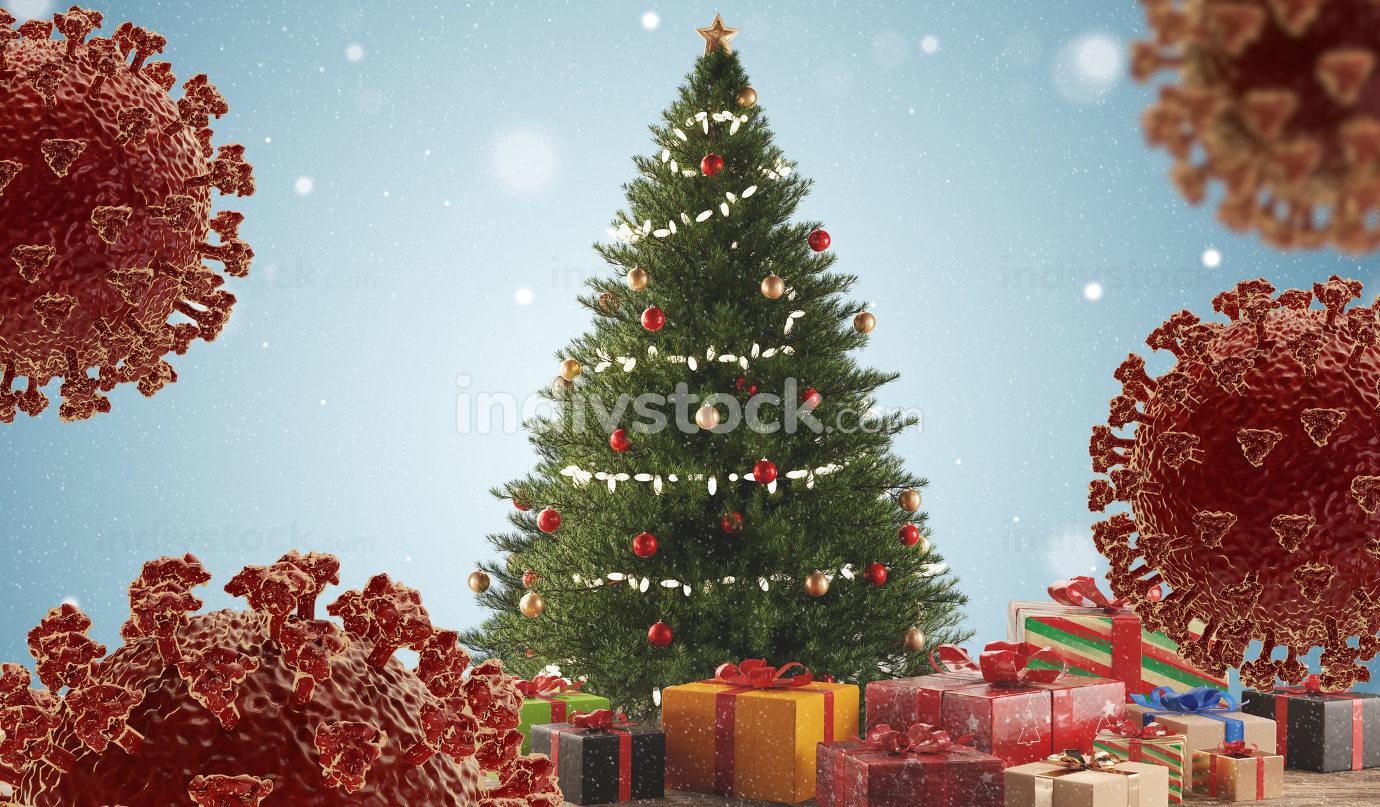 christmas tree and presents with coronavirus 3d-illustration
