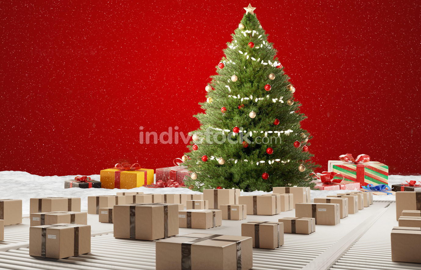 christmas tree postal parcel logistics shipping parcels 3d-illus