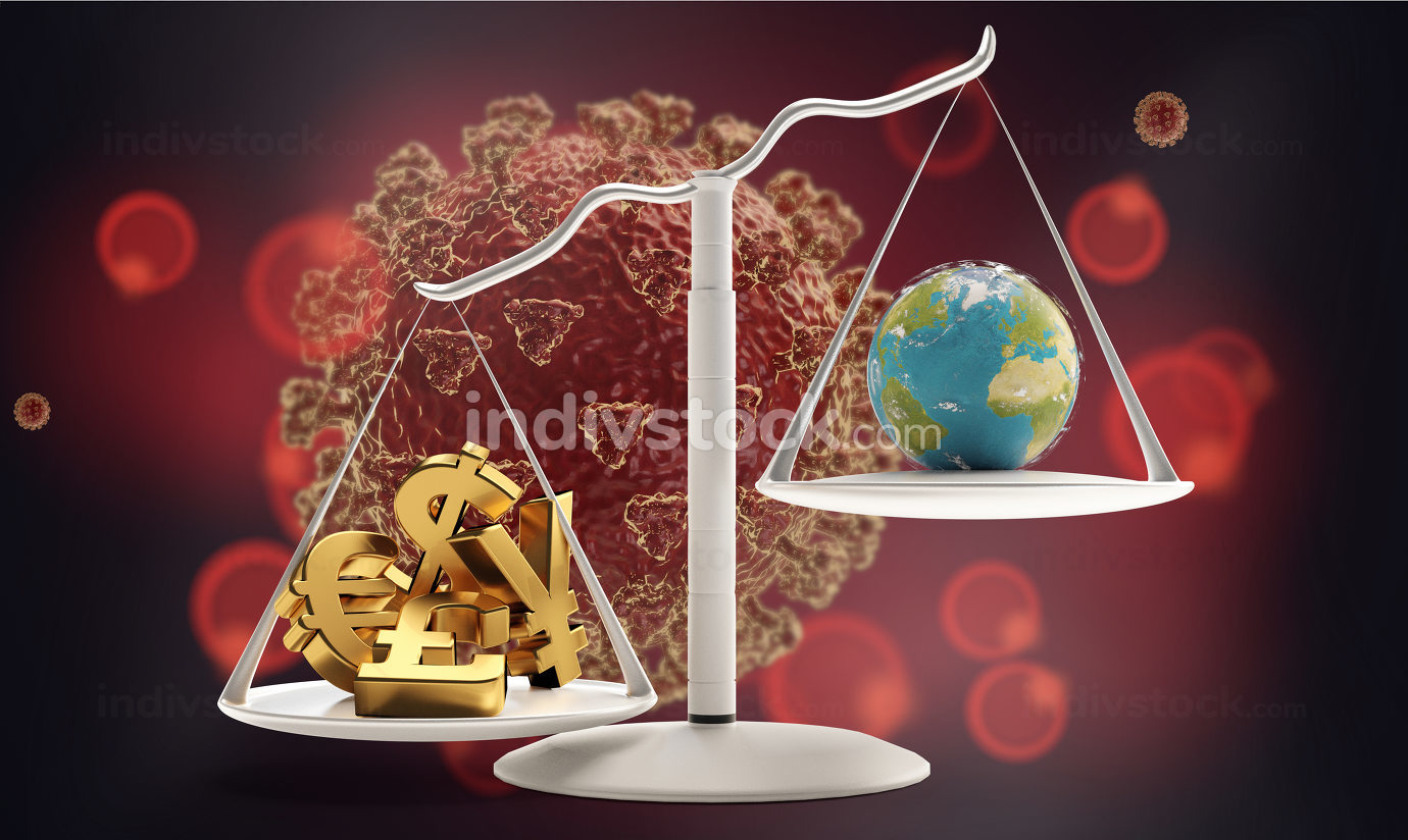 concept of Coronavirus and a scale with money and planet earth on the other side 3d-illustration