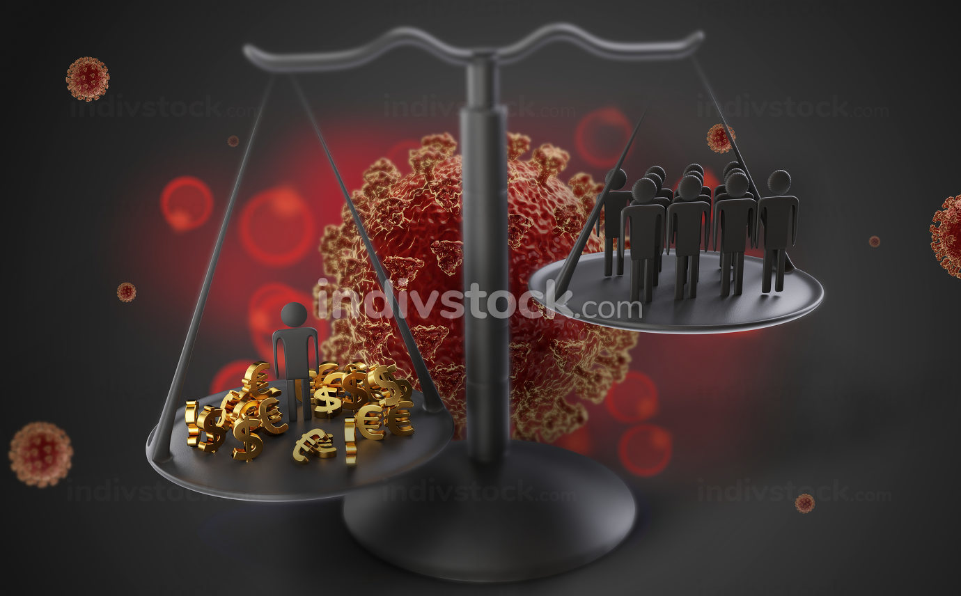 concept of Coronavirus and a scale with one person and money and