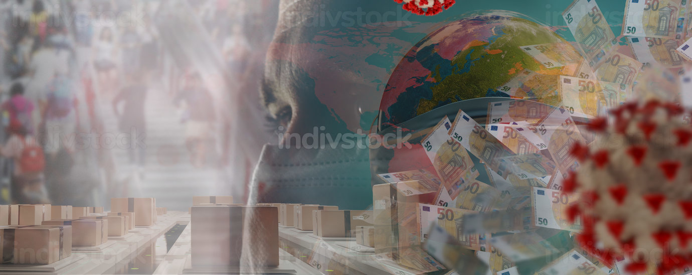 Corona virus and packages and red world map and globe with mask and many people in the background on a staircase and many 50 euro bills. 3d-illustration. elements of this image furnished by NASA
