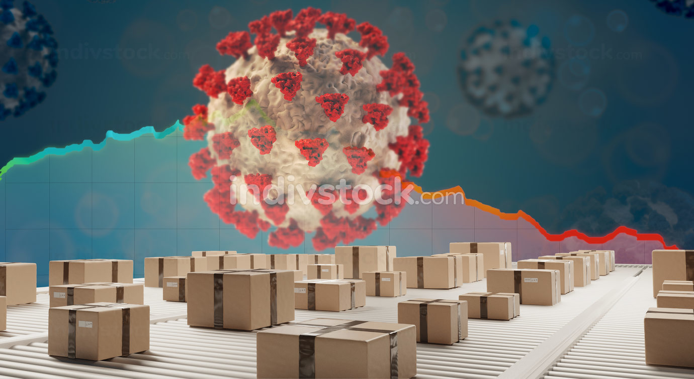 Coronavirus covid19 economic impact concept image 3d-illustration