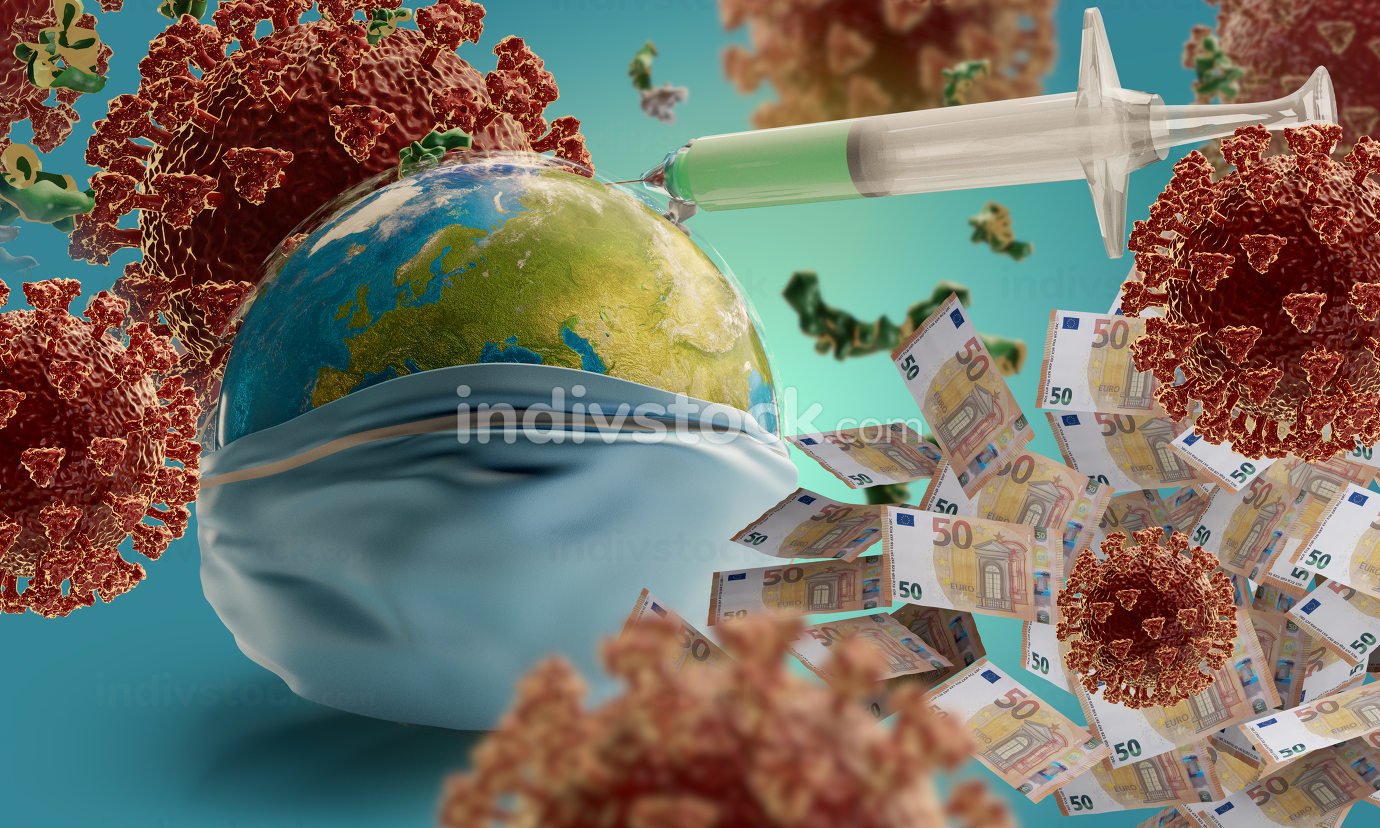 Coronavirus with syringe and globe with respiratory protection face mask 3d-illustration. elements of this image furnished by NASA