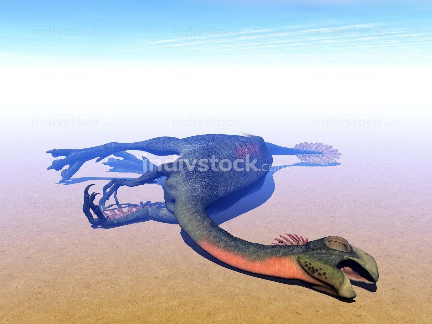 Dead gigantoraptor dinosaur - 3D render