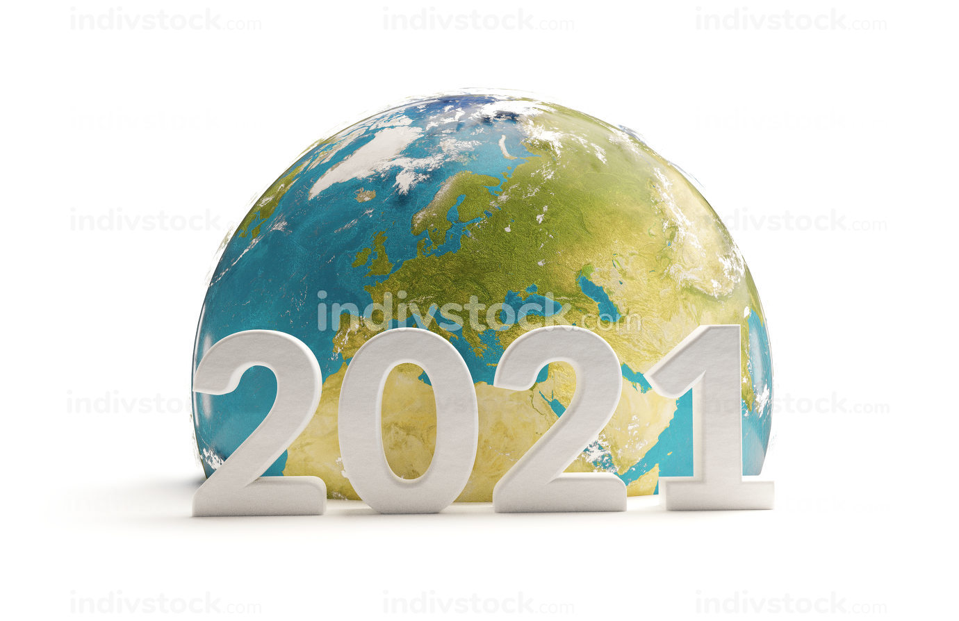 earth focus on Europe and year 2021 3d-illustration. elements of