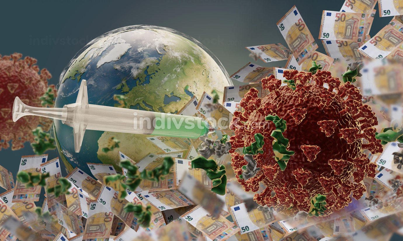 EUR 50 and syringe and globe with mouth protection mask and Corona virus 3d-illustration. elements of this image furnished by NASA