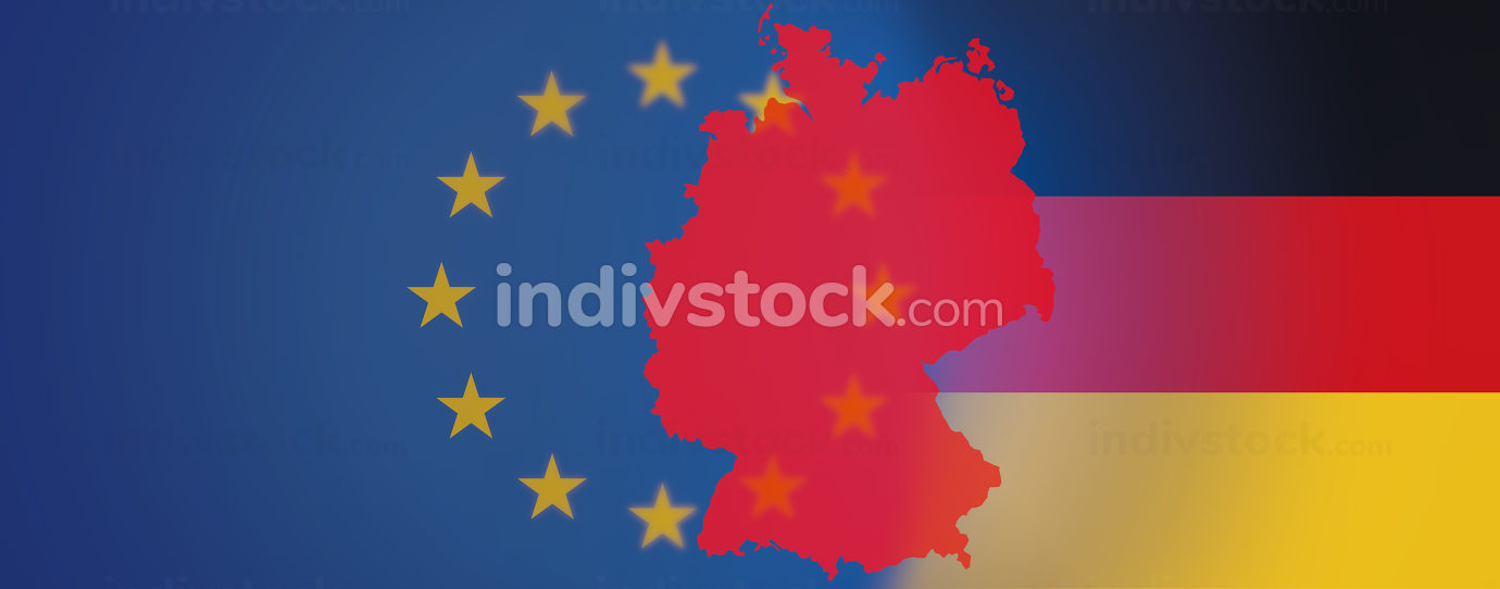 Europe and silhouette of Germany with flag of Germany partially