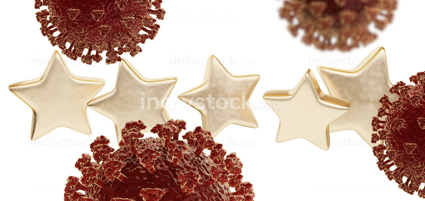 five golden stars. coronavirus 3d-illustration