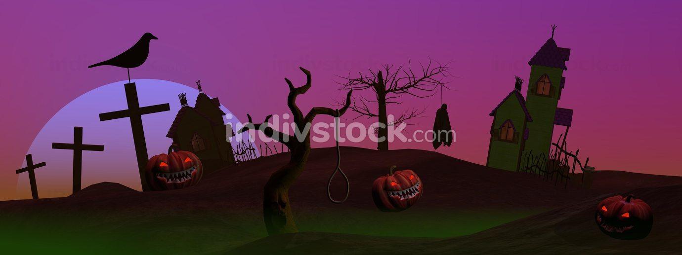 Full moon halloween scene