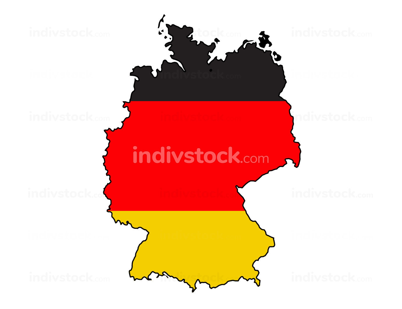 Germany outline map black red yellow 3d-illustration