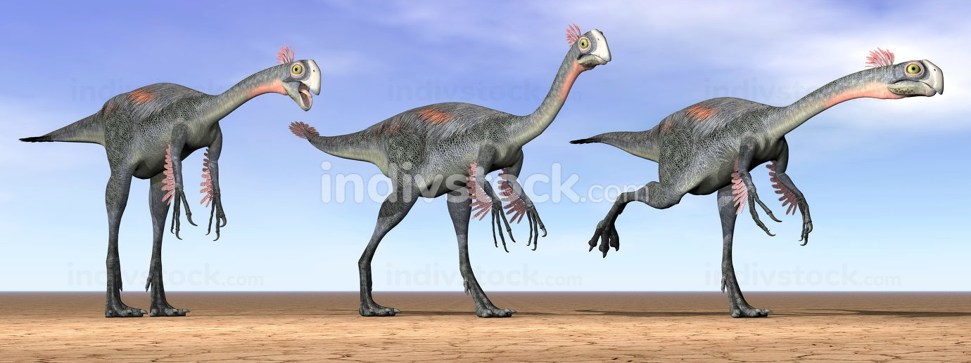 Gigantoraptor dinosaurs in the desert - 3D render