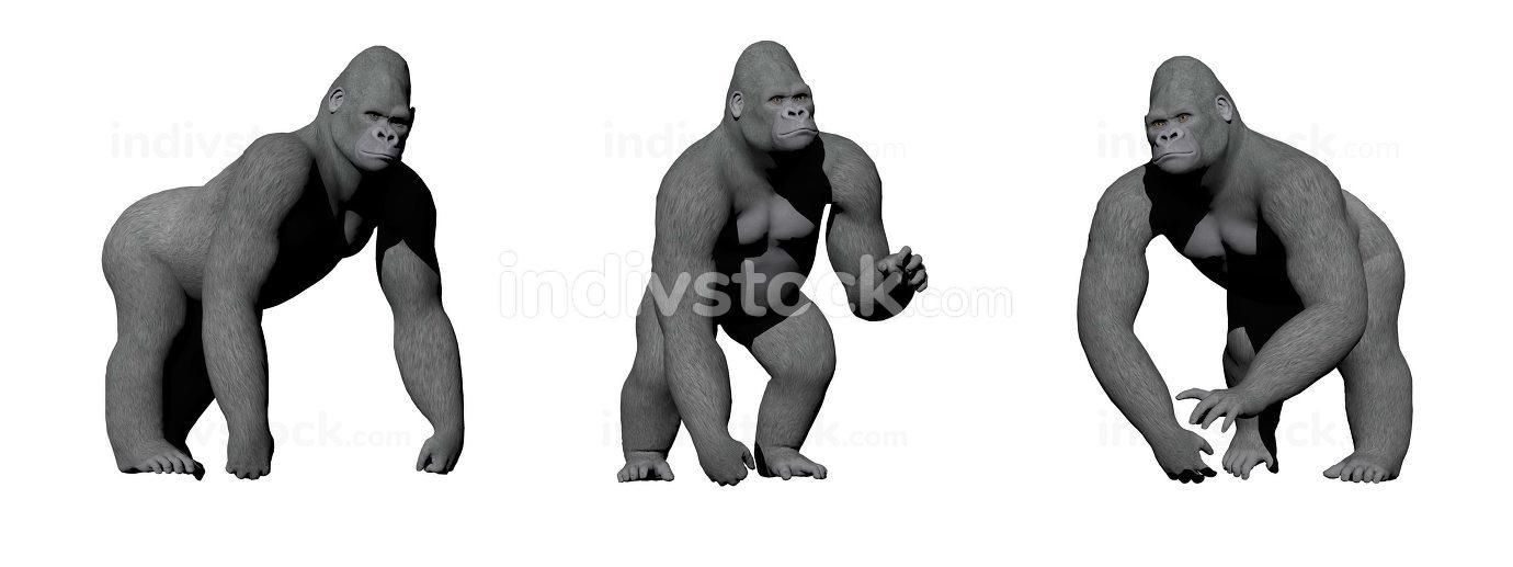 Gorillas hand on the ground - 3D render