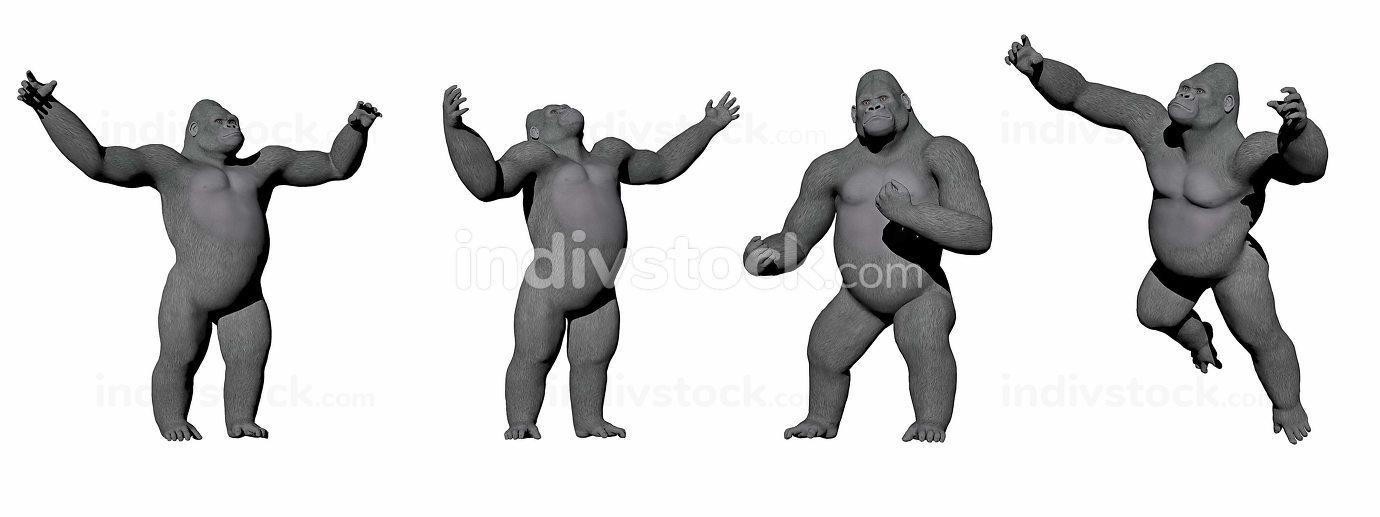 Gorillas up - 3D render