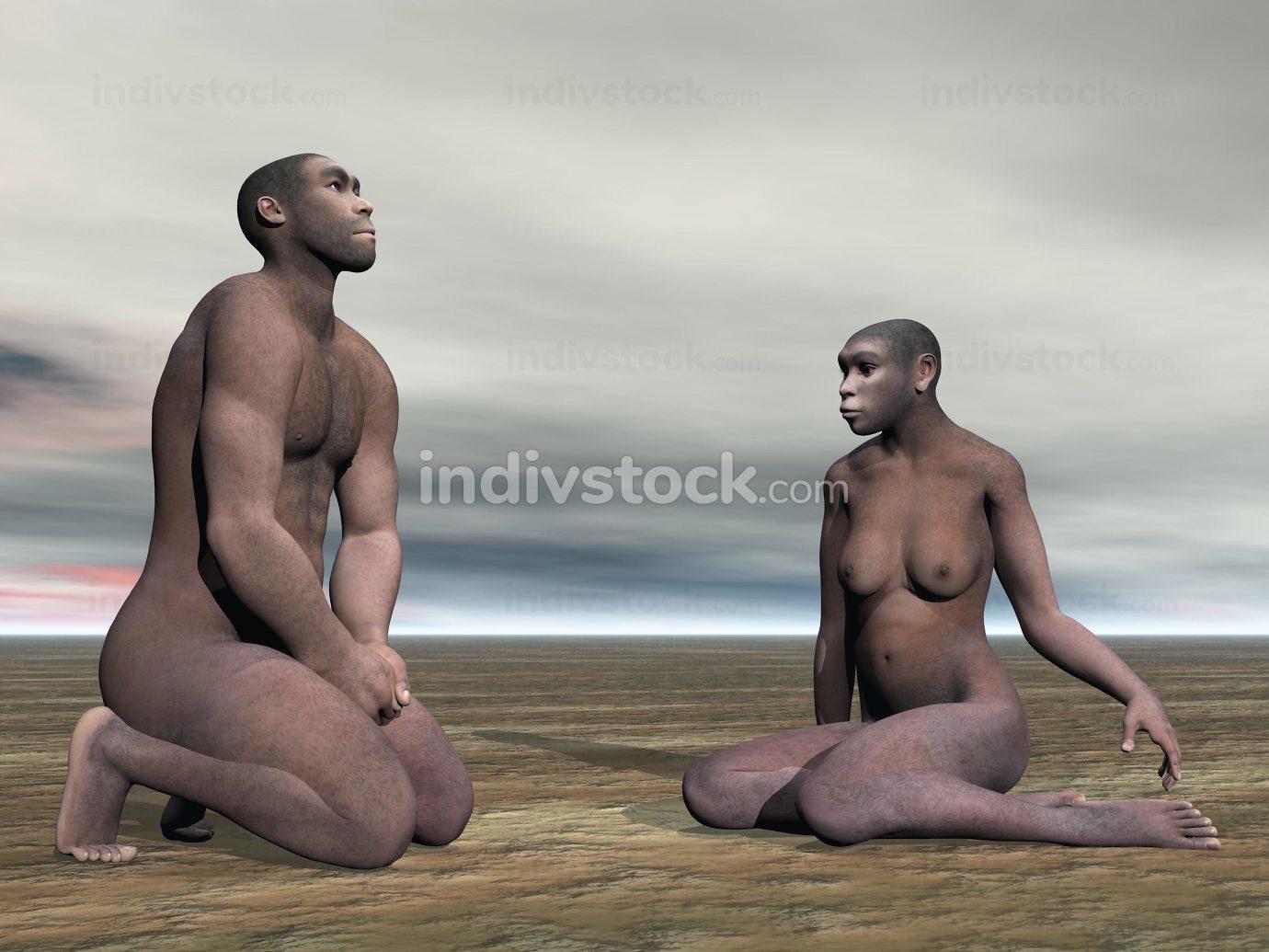 Homo erectus couple- 3D render