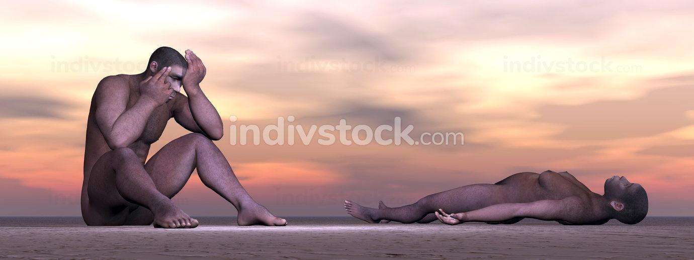 Homo erectus suffering - 3D render