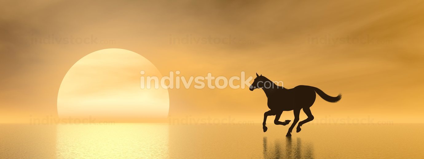 Horse galloping to the sun - 3D render