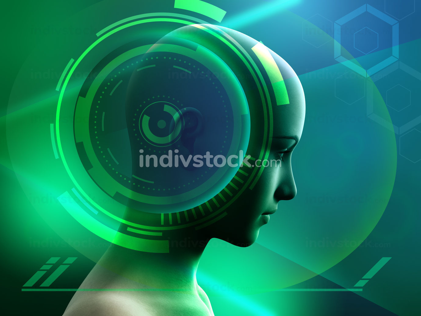 Human head in a futuristic environment.Human head with some high technology interface elements. Digital illustration.