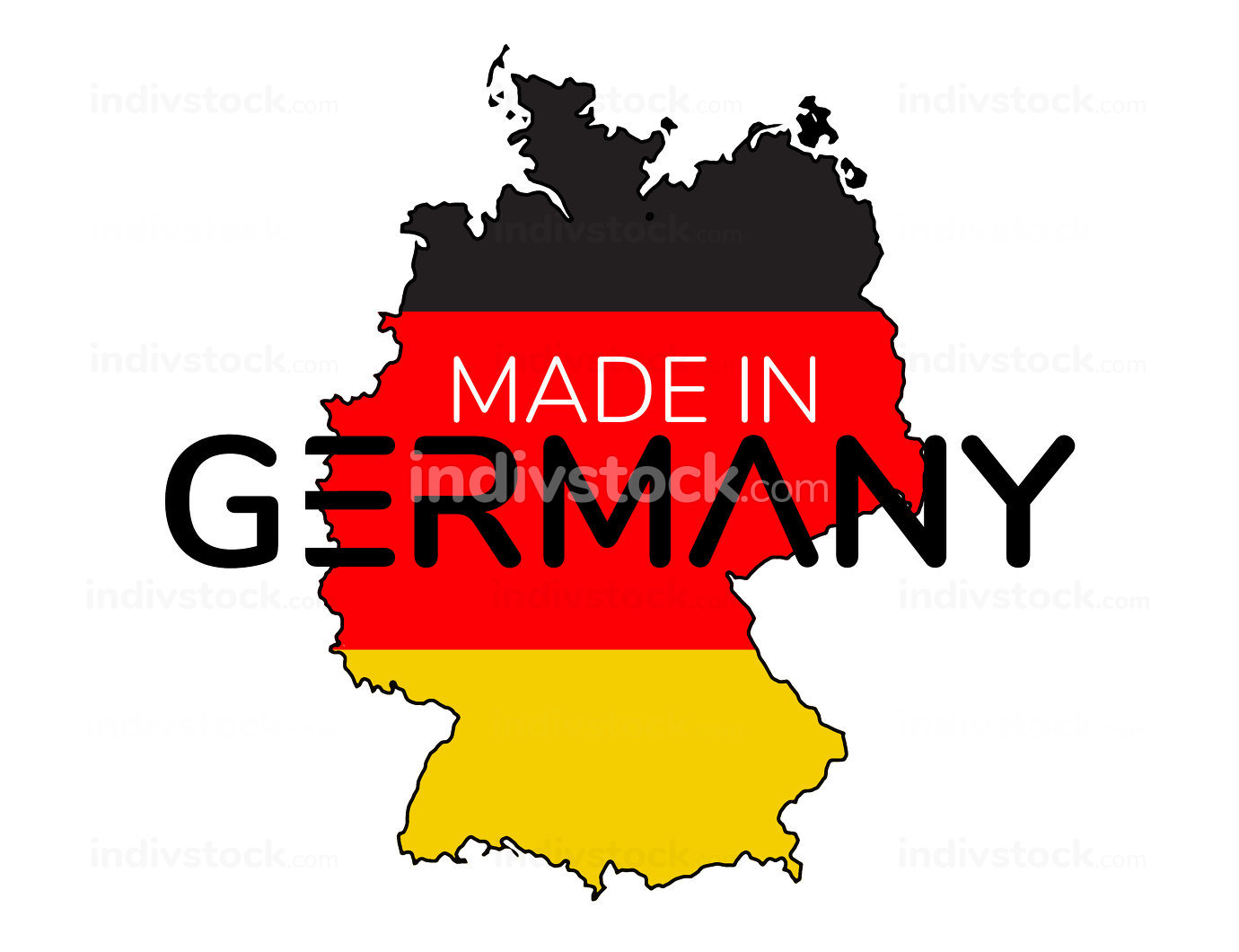 Made in Germany outline map black red yellow 3d-illustration