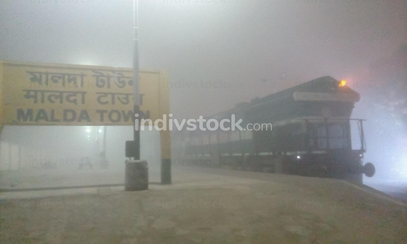 Malda Town India November 2019, Empty railway station at foggy winter night