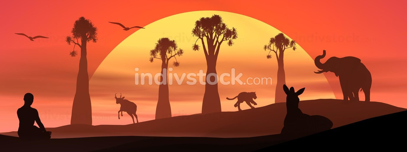 Meditation and wildlife by sunset - 3D render