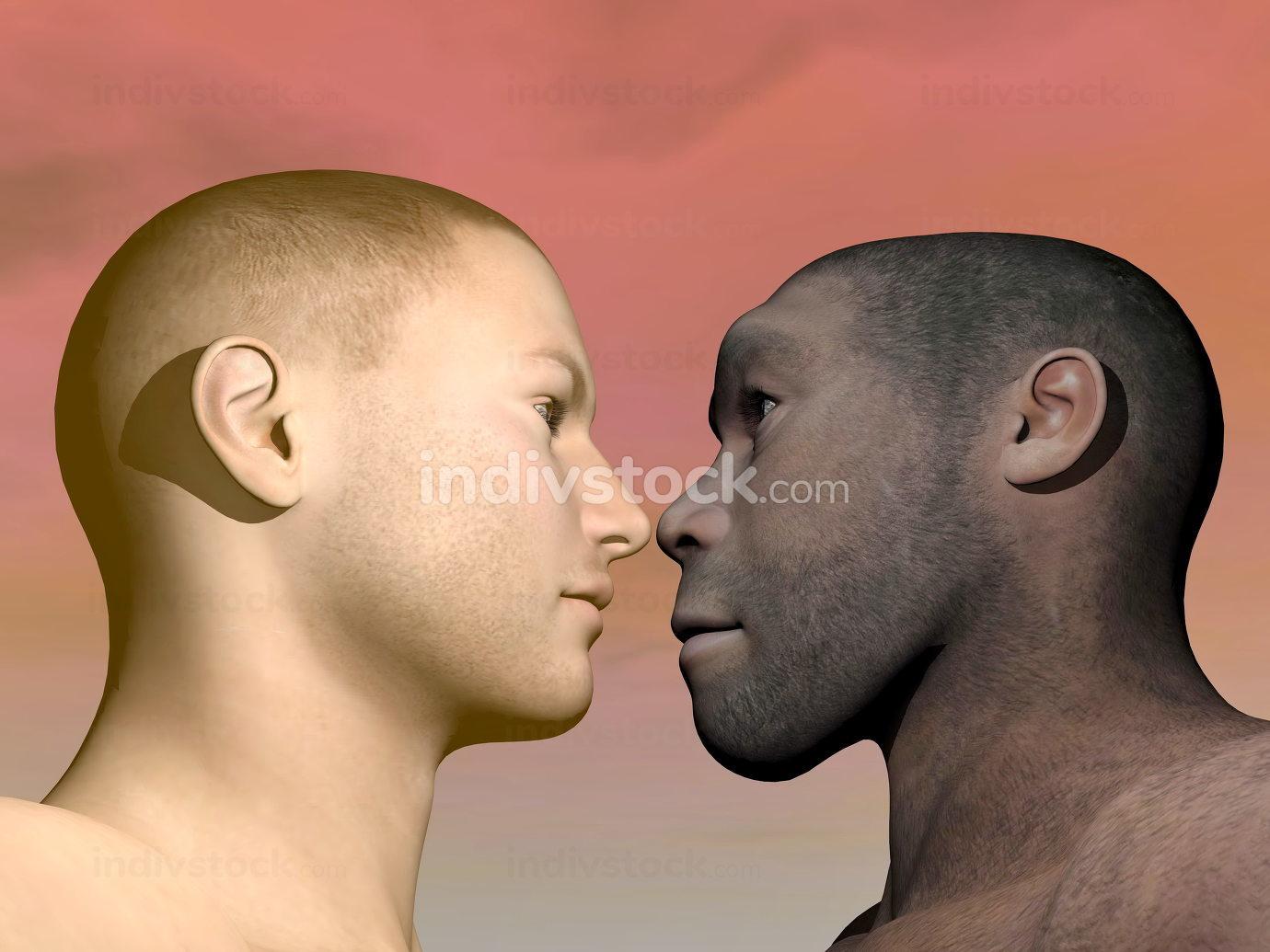 Modern human and homo erectus - 3D render