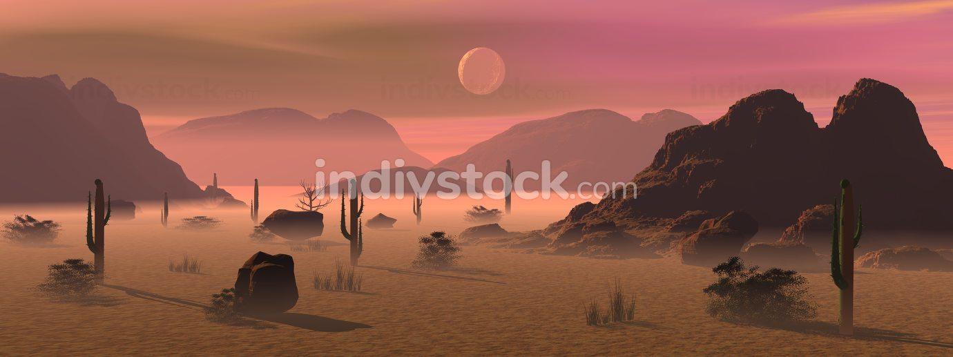 Morning in the desert - 3D render
