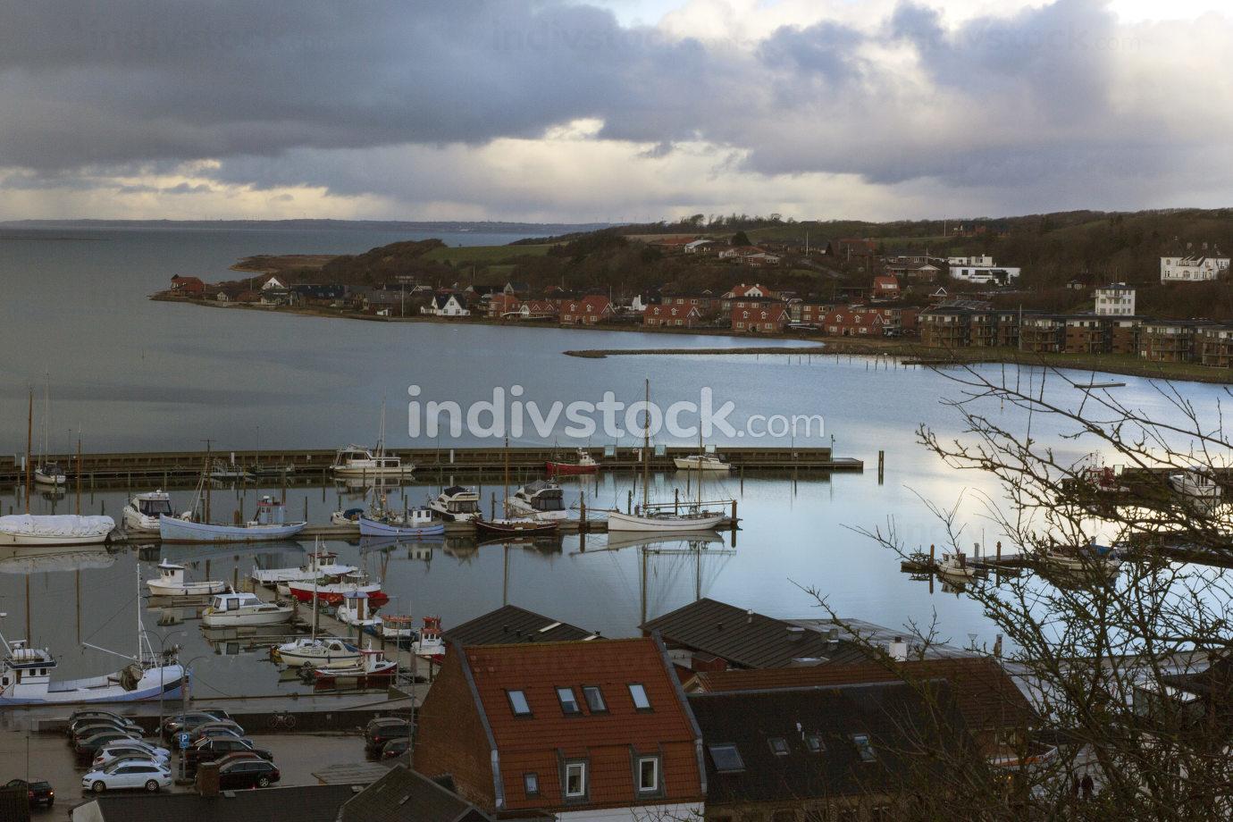 Morning view of the harbour of Lemvig, Denmark