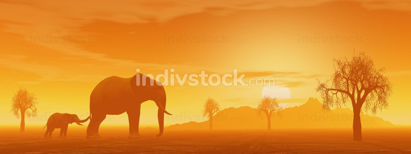 Mum and little elephant - 3D render