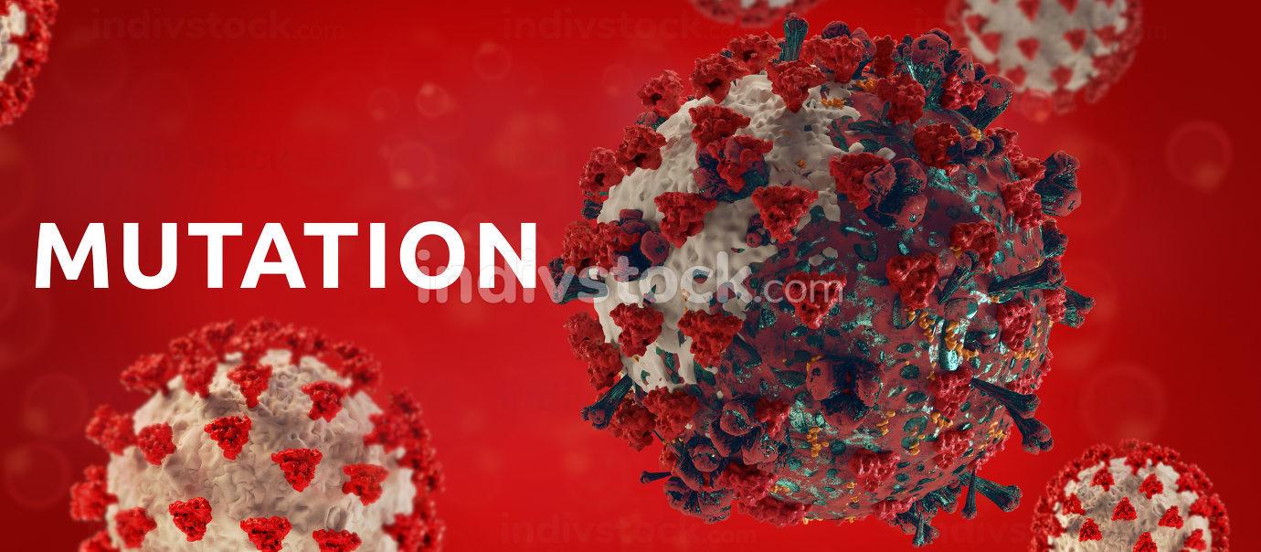 mutation of virus cell symbolic concept of COVID-19 mutated Coronavirus 3d-illustration