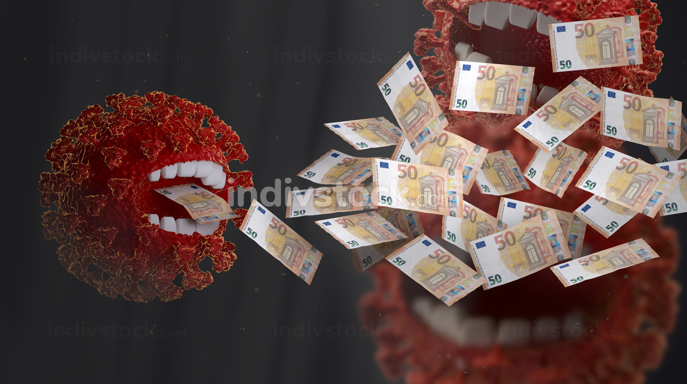 nasty and annoying coronavirus monsters. Corona crisis costs. money eating red virus, symbolic virus monster with teeth and EUR banknotes 3d-illustration
