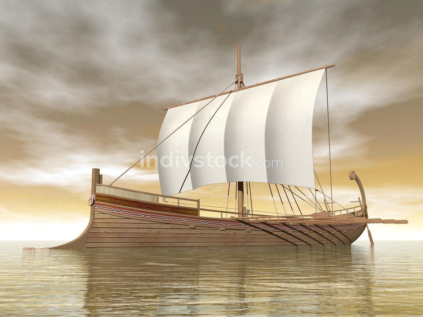 Old greek boat - 3D render