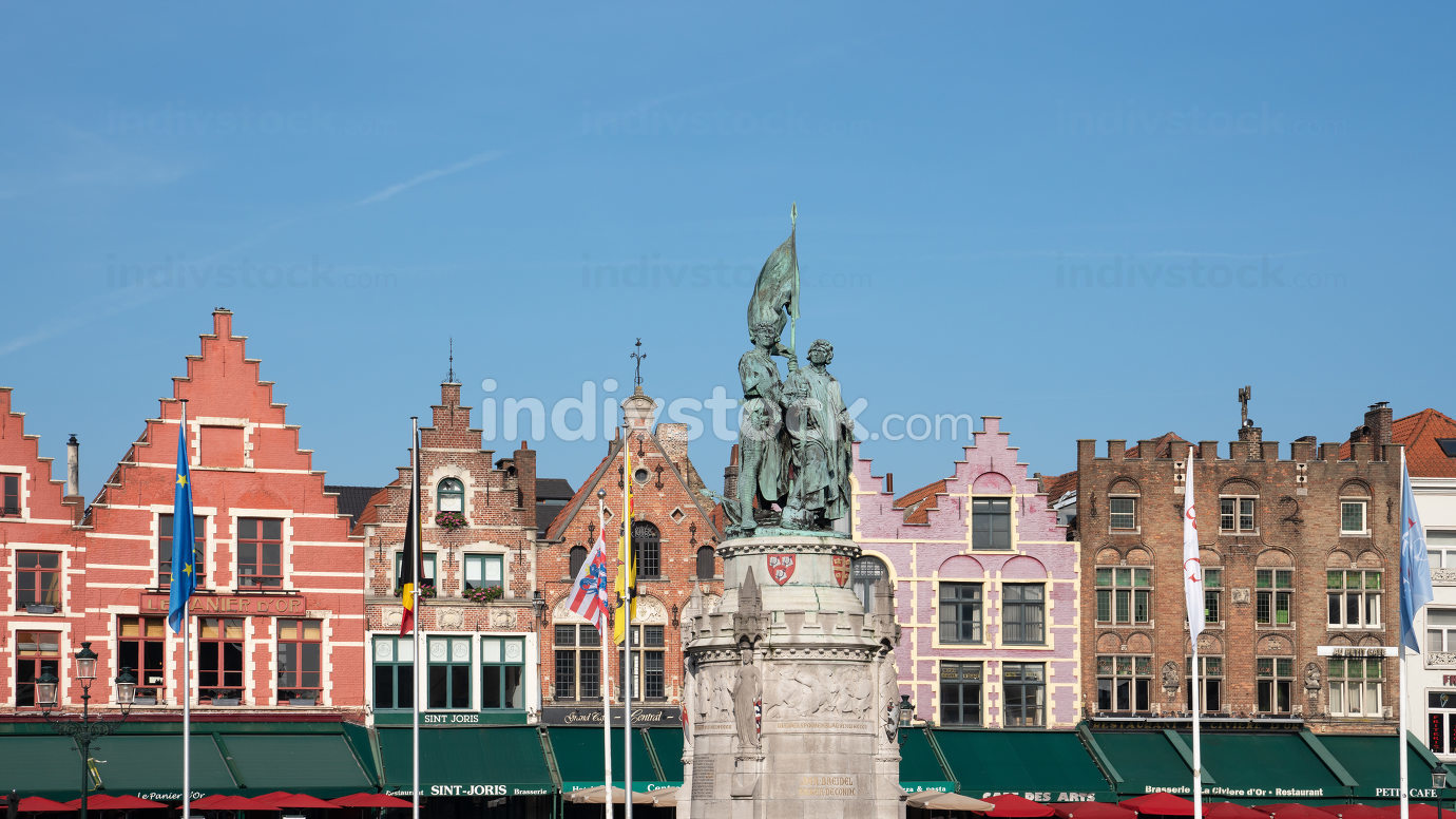 Panoramic image of the historic buildings of Bruges on October 31, 2019 in Belgium