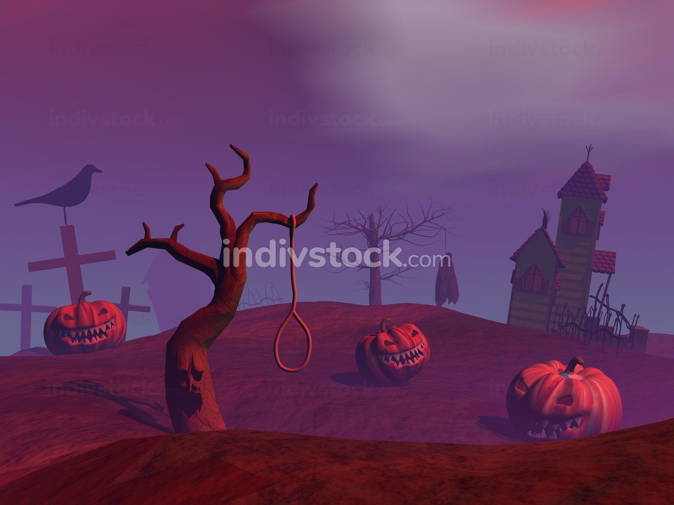 Purple halloween scene