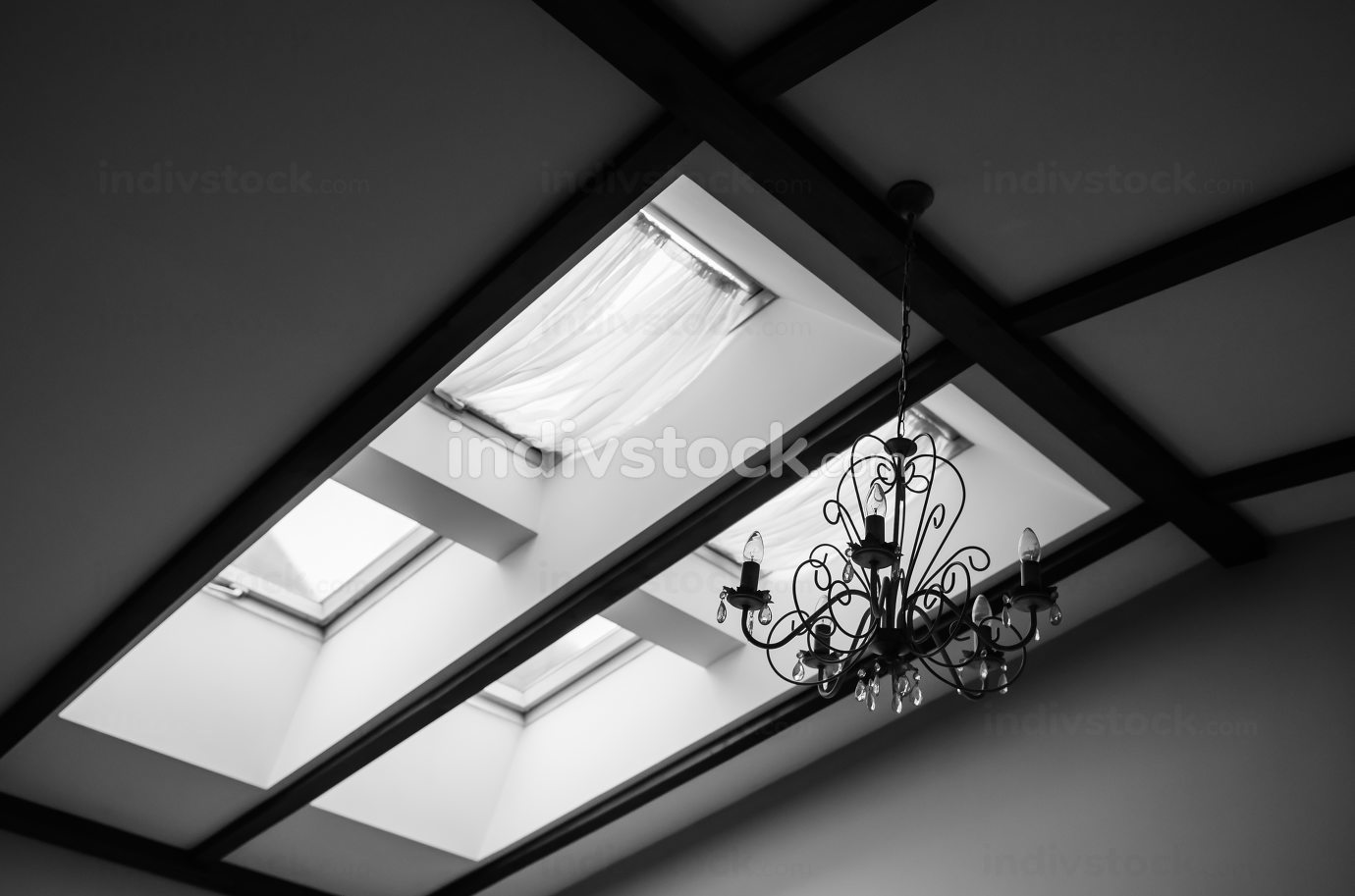 skylights in the roof of the house