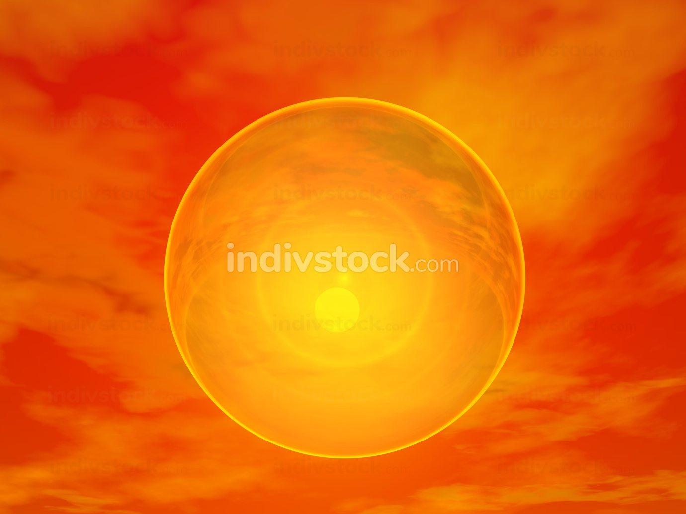 Sun behind bubble - 3D render