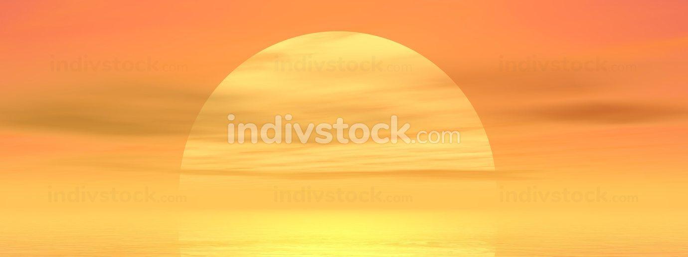 Sunset over ocean - 3D render