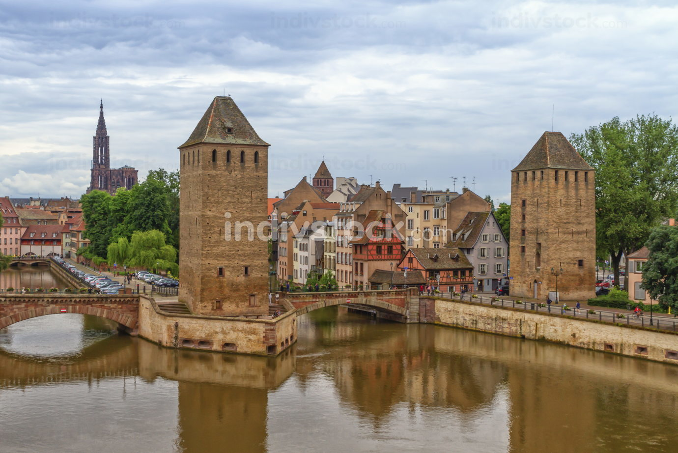 The twin watchtowers of the Ponts Couverts, Strasbourg, France