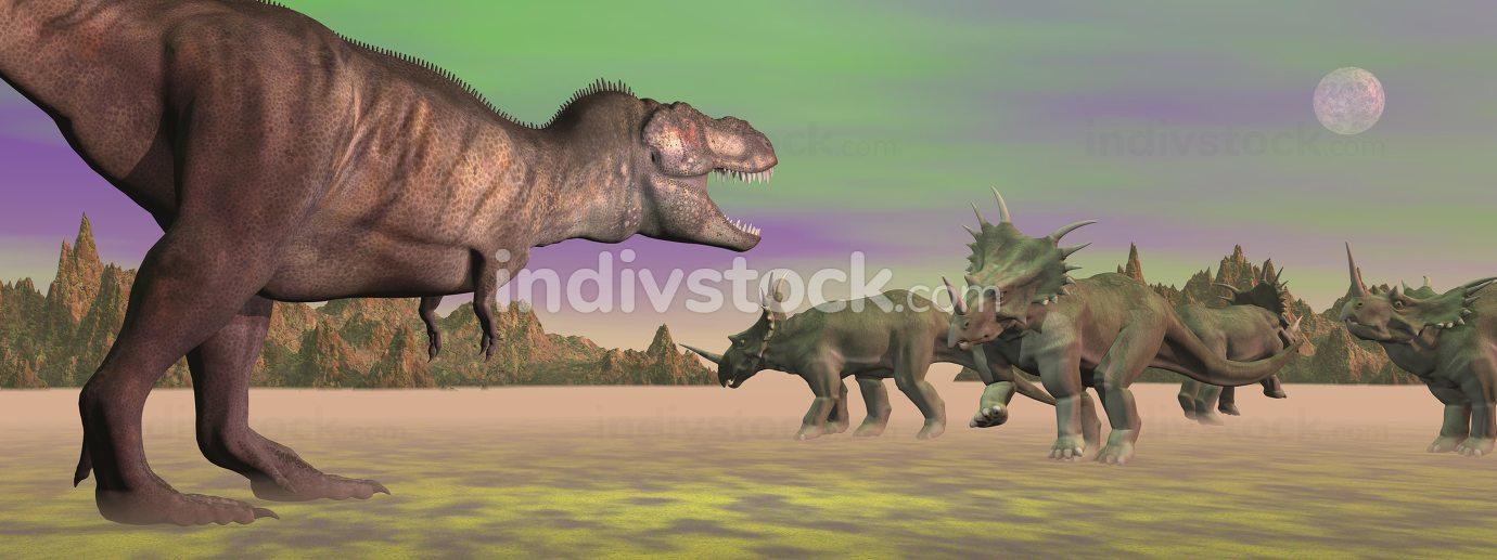Tyrannosaurus attacking styracosaurus - 3D render