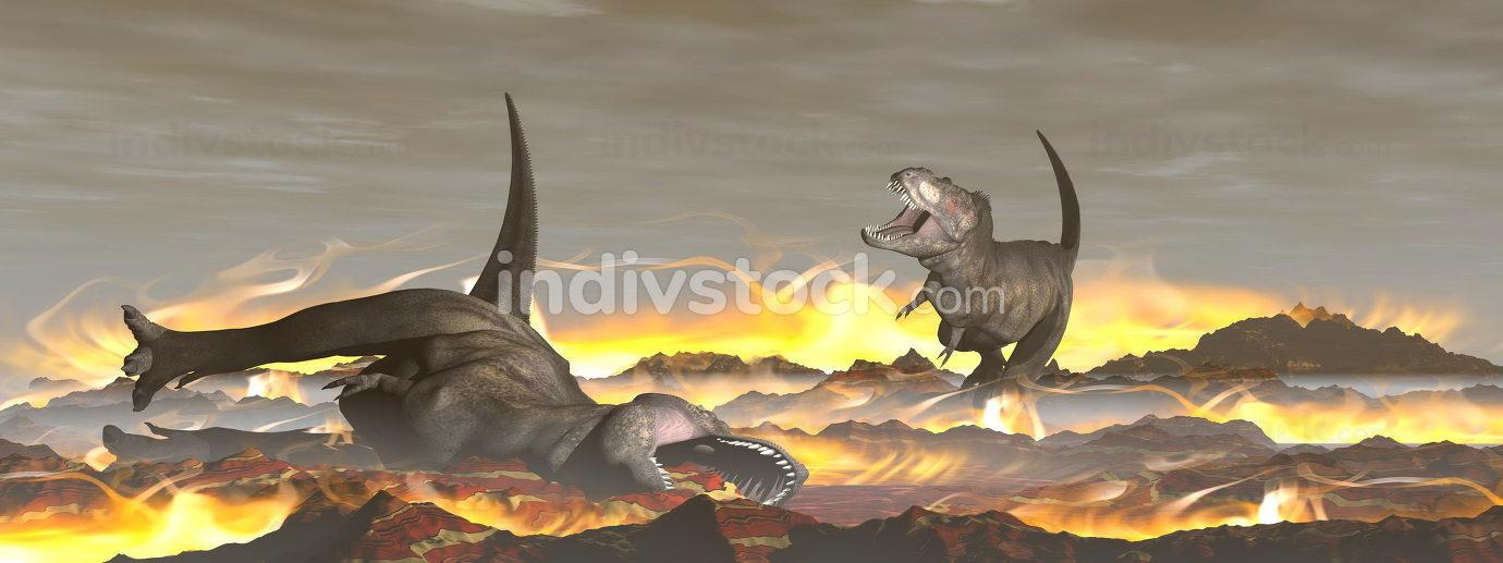 Tyrannosaurus dinosaur exctinction - 3D render