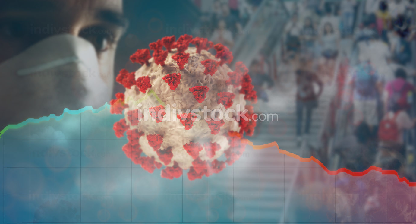 virus face protection young man and packages and people background 3d-illustration