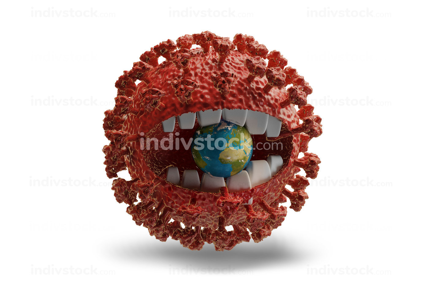 virus with teeth eats the earth.3d-illustration. elements of this image furnished by NASA