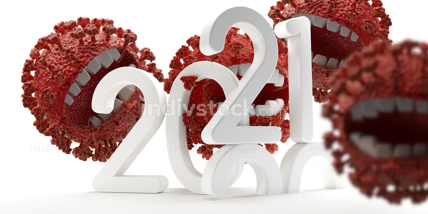 virus with teeth eats the year 2021 3d-illustration
