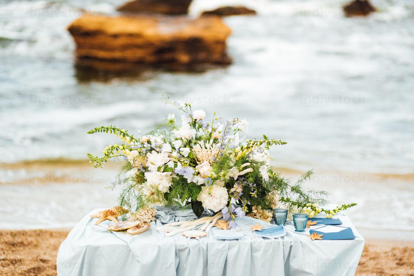 wedding ceremony area on the sandy beach