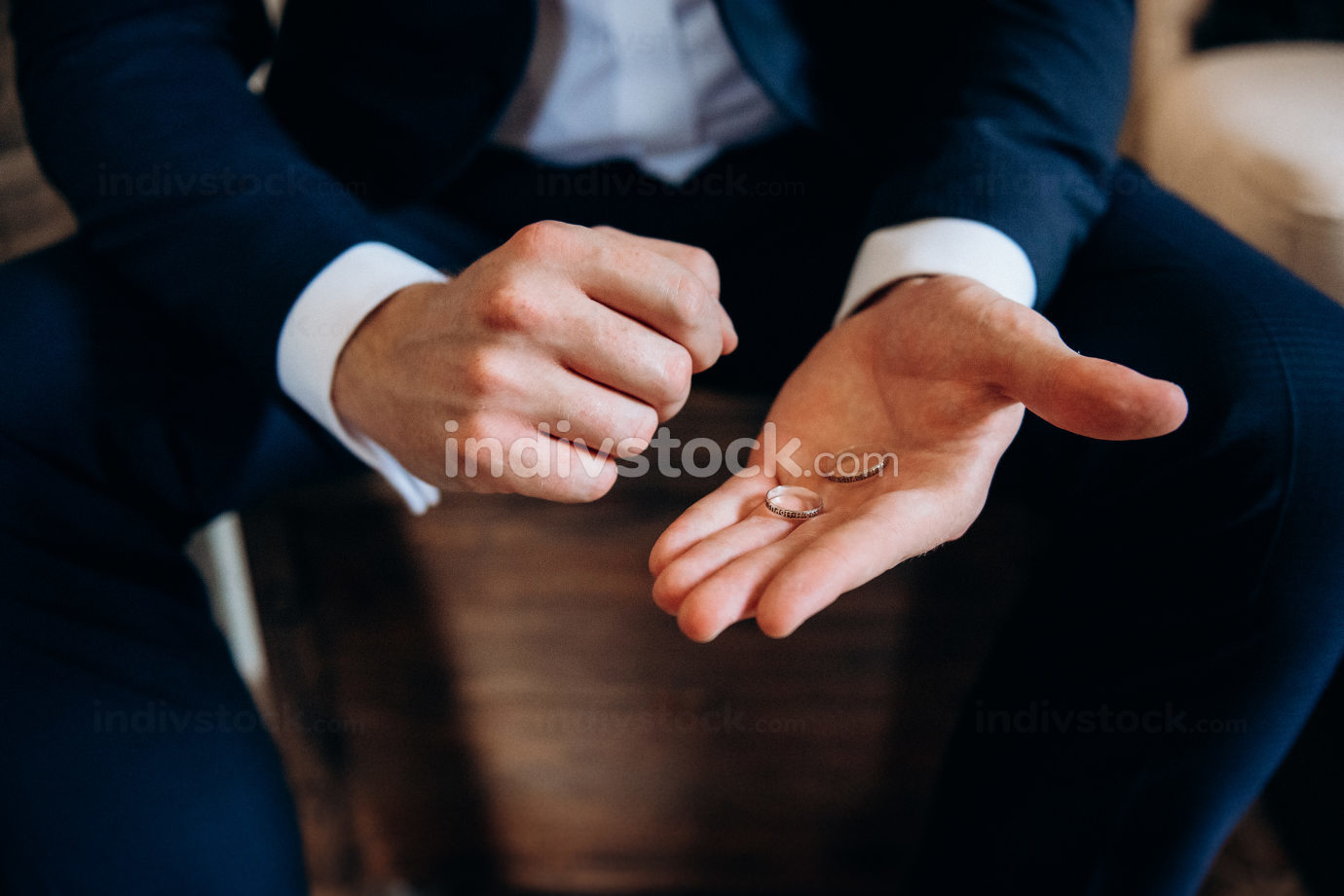 wedding rings on the palm...