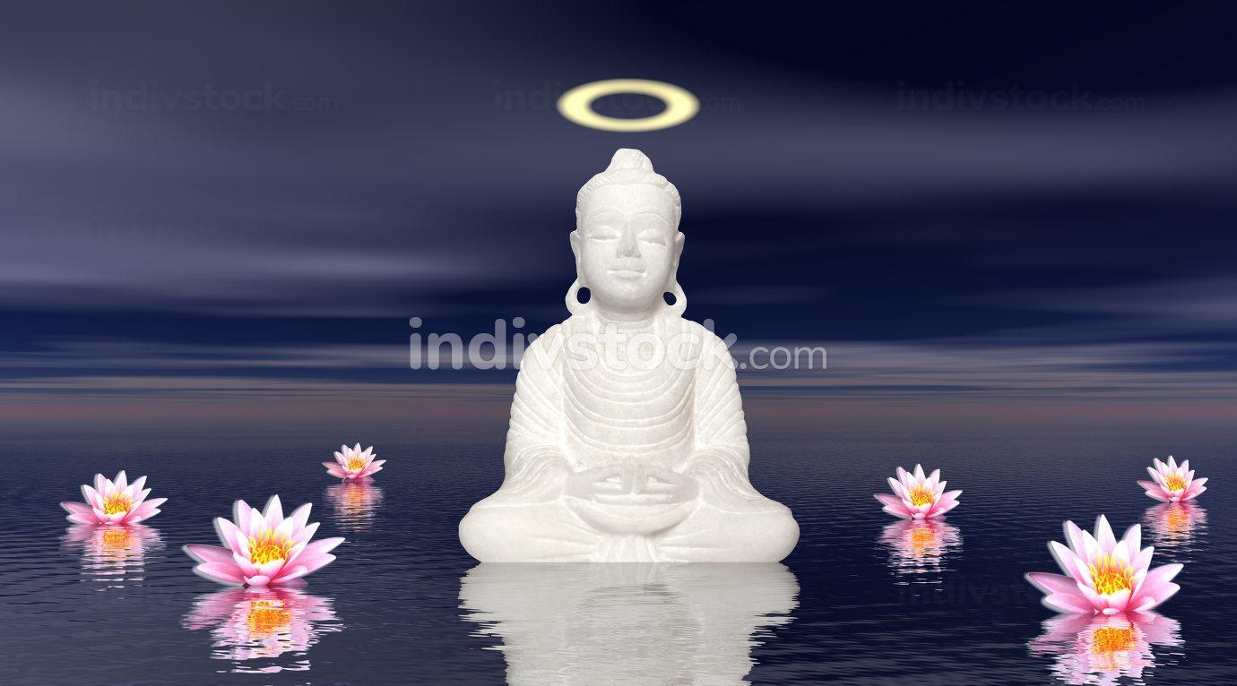 White buddha meditation - 3D render